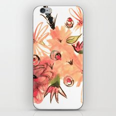 Floral Illustration 2 - A Simple Pink and Green Watercolor and Ink iPhone & iPod Skin