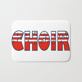 Choir in Patriotic Red White and Blue Music Font Bath Mat