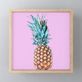 Pineapple On A Pink Background #decor #society6 #homedecor Framed Mini Art Print