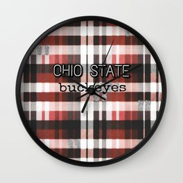 Ohio State Buckeye Plaid Wall Clock