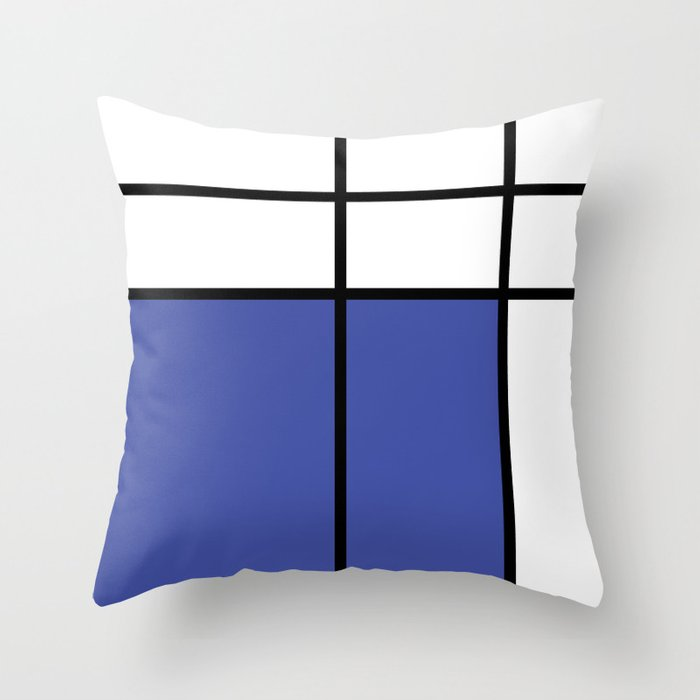 mondrian, piet mondrian, mondrian pattern, mondrian composition, blue, Throw Pillow