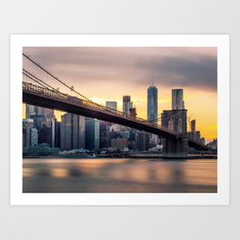 Brooklyn Bridge and Lower Manhattan at Sunset with Low Clouds Art Print