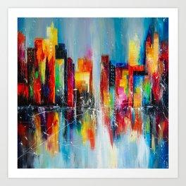 Downtown after rain Art Print