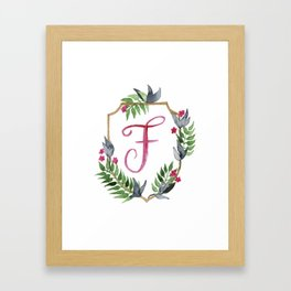 Jungle Gold Monogram Crest F Framed Art Print