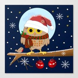 Owl's Christmas in a snowy world Canvas Print