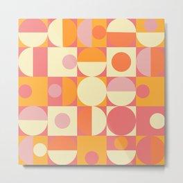 Thoroughly Modern Pink And Orange Geometric Design Metal Print