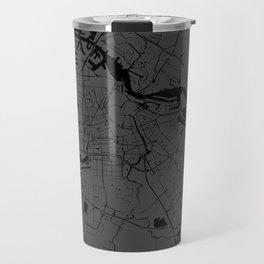 Amsterdam Gray on Black Street Map Travel Mug