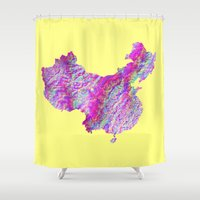china Shower Curtains featuring China by mthbt