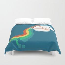 Fat Unicorn on Rainbow Jetpack Duvet Cover