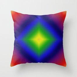 Rainbow Gradient Diamond Geometric Throw Pillow
