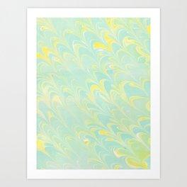 Turquoise Yellow Scalloped Marbling Art Print