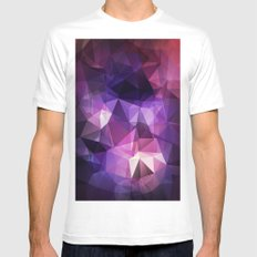 Stylish geometrical print with polygonal triangles White Mens Fitted Tee MEDIUM