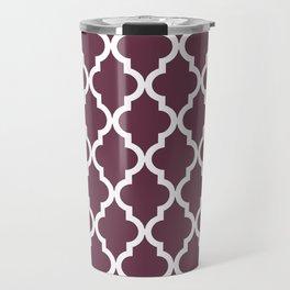 Moroccan Quatrefoil Pattern: Burgundy Travel Mug