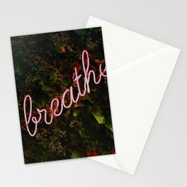 Breathe - Neon Mindfulness Sign in Calming Forest Stationery Cards
