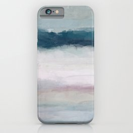 Dark Teal Blue, White, Pink, Light Blue Modern Wall Art, Ocean Waves Diptych Nursery Beach Decor iPhone Case