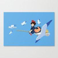 kiki Canvas Prints featuring Kiki by 8-bit Ghibli