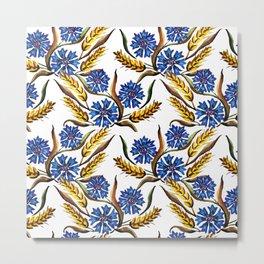 Watercolor Cornflowers and Wheat Metal Print