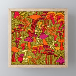 Mushrooms in the Forest Framed Mini Art Print