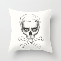 house md Throw Pillows featuring Everybody Dies - House MD Skull Crossbones by Olechka