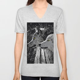 WOLF OF THE NIGHT FOREST Unisex V-Neck