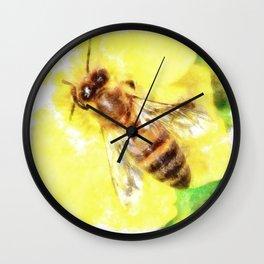 The Pollen Collector Honeybee Watercolor Wall Clock