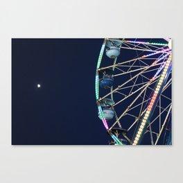 Ferris Wheel & Moon Canvas Print