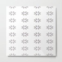Simple White Grey Flowers Metal Print