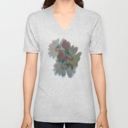Muted drab green eggplant layered gerber daisy photography 3D art Unisex V-Neck