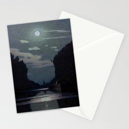 Charles Guilloux - Lever de Lune sur un Canal - Moonrise on a Canal Stationery Cards