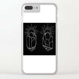 Crystals Duo Glowing Gemstones Design Clear iPhone Case