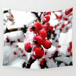 Bright Red Berries Wall Tapestry