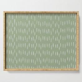 Raindrop Boho Abstract Pattern, Sage Green Serving Tray