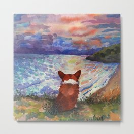 Corgi - sunset adorer Metal Print