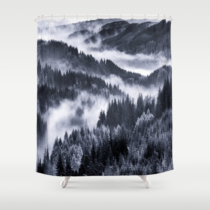 Misty Forest Mountains Shower Curtain by vintageby2sweet | Society6