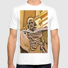 Shakespeare Hits the Books Mens Fitted Tee White MEDIUM