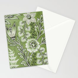 Antique Floral Drawing in Green Stationery Cards