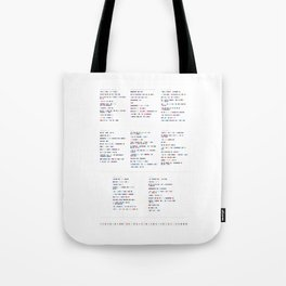 Death Cab for Cutie Discography - Music in Colour Code Tote Bag