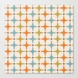 Mid Century Modern Star Pattern 817 Orange Brown Blue and Olive Green Canvas Print