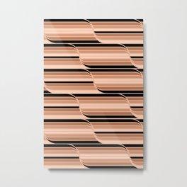 Geo Stripes - Black & Neutral Metal Print