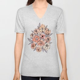 Pink Inky Floral - Watercolor Flowers - Ink Unisex V-Neck