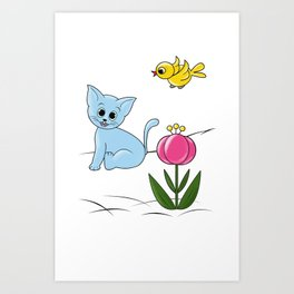 Smiling Cat Art Print