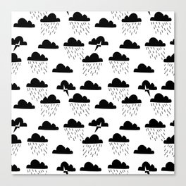 Clouds linocut black and white printmaking pattern black and white Canvas Print