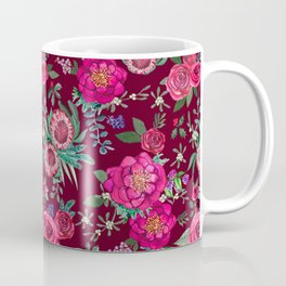 Burgundy Floral Thanksgiving , fall & winter floral in watercolor Coffee Mug
