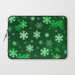 Dark Green Snowflakes Laptop Sleeve