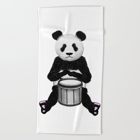 Panda Drummer Beach Towel
