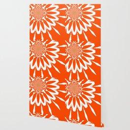 The Modern Flower Orange Wallpaper