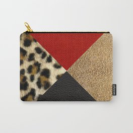 Leopard Print & Textured Triangles Carry-All Pouch