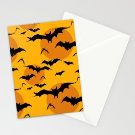Abstract orange yellow black halloween bats animal pattern Stationery Cards