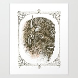 Portrait of a Buffalo Art Print