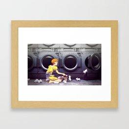 Bunny Laundry Tea Time Framed Art Print